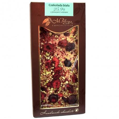 Czekolada biała z pistacjami i wiśniami 25,9% kakao