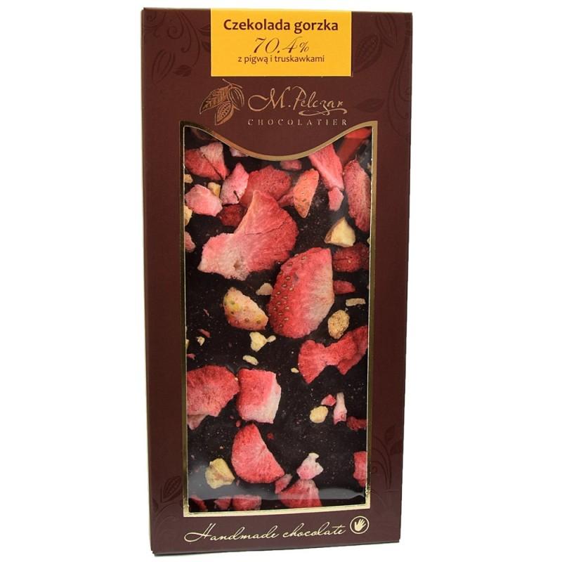 Czekolada gorzka z pigwą i truskawkami 70,4% kakao