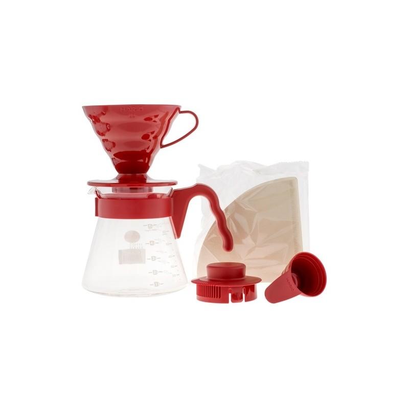 Hario zestaw V60 Pour Over Kit - drip + serwer + filtry czerwony